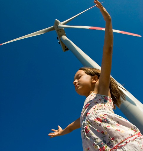 10584_girl_under_wind_turbine Canada's Wind Turbine Health Study Draws Criticism From Industry