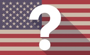 Long shadow USA flag icon with a question sign