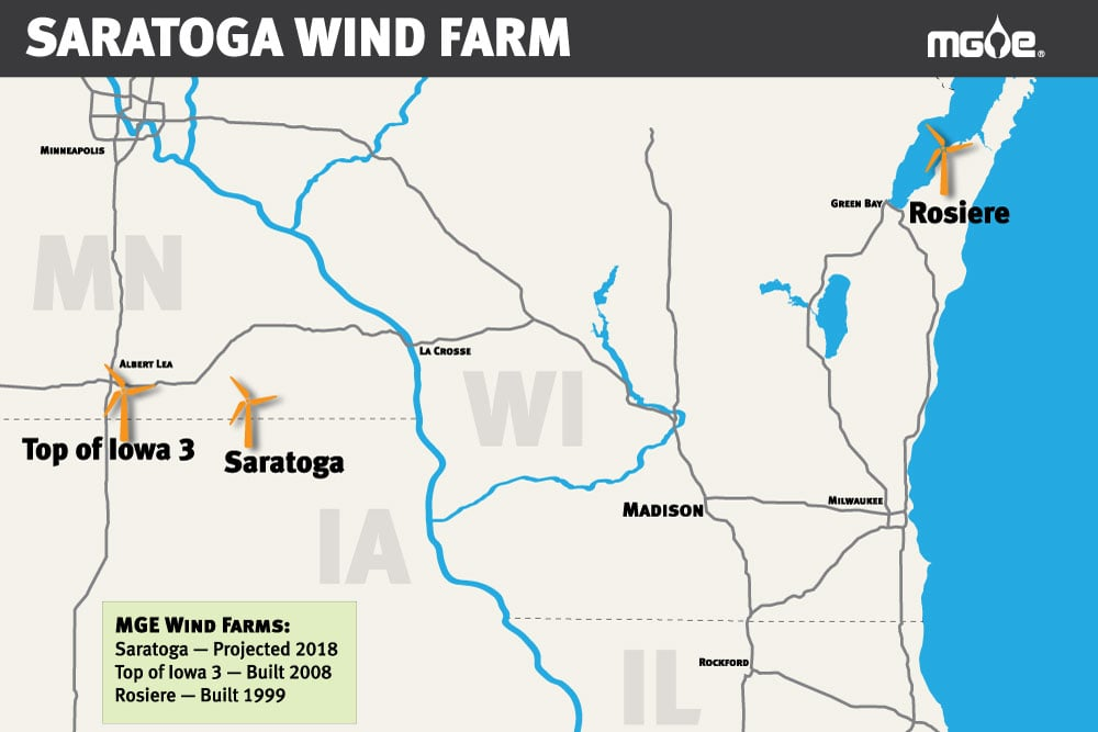 saratoga-locator-map Wisconsin Utility Plans Out Iowa Wind Farm