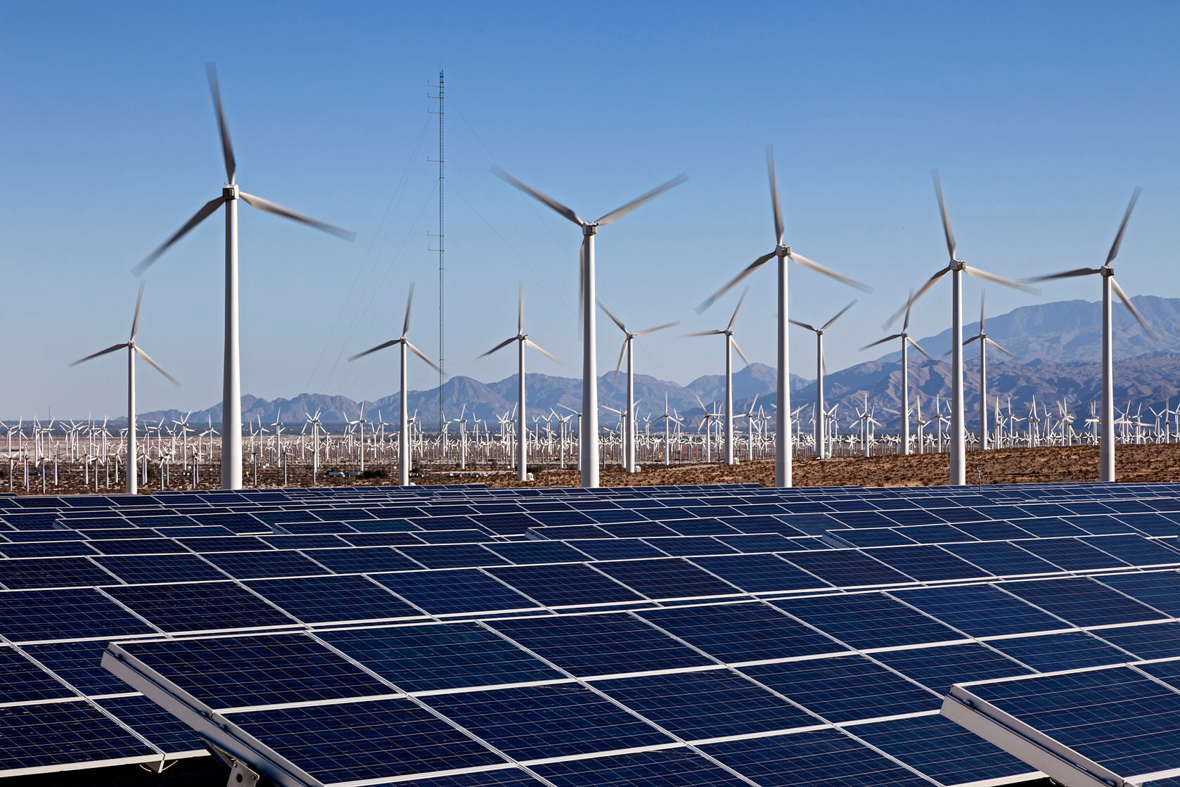view-of-wind-and-solar-farm-in-desert Renewable Choice Energy Issues RFI For North American Developers