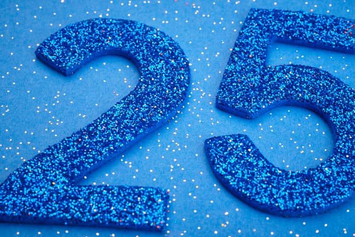 25 blue glitter