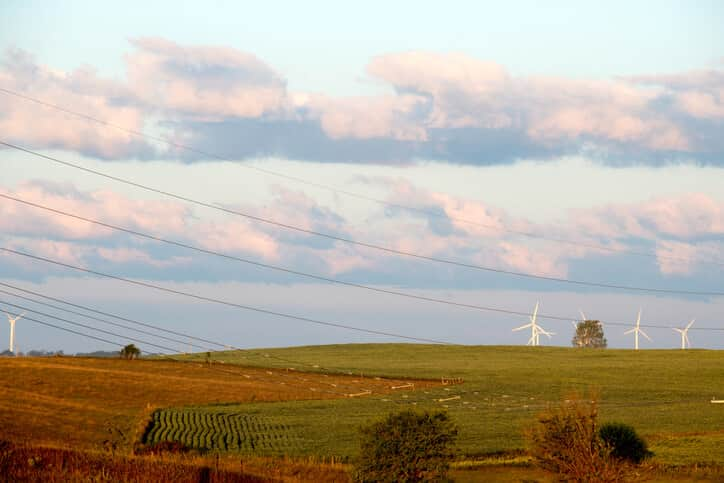 Wind Turbines on Farm Land in Iowa