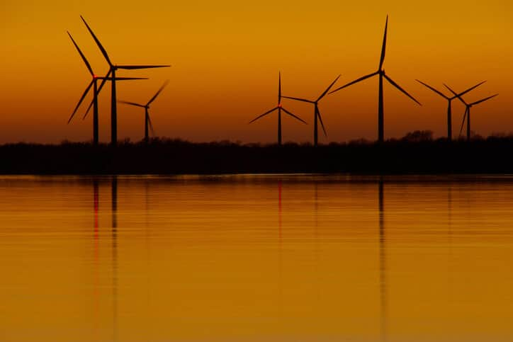 Windmills at sunset on St. Lawrence Seaway