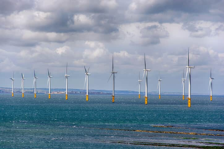 Wind turbine farm at Redcar North East England in the North sea