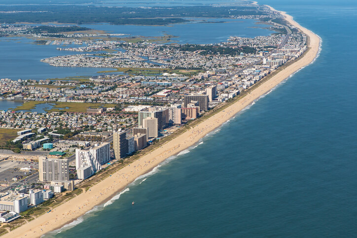 Ocean City, USA - September 13, 2012: Aerial view of Ocean City, Maryland on September 13, 2012. Ocean City, MD is one of the most popular beach resorts on the East Coast and is considered one of the cleanest in the country