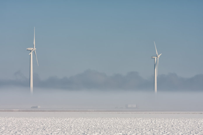icy wind turbine